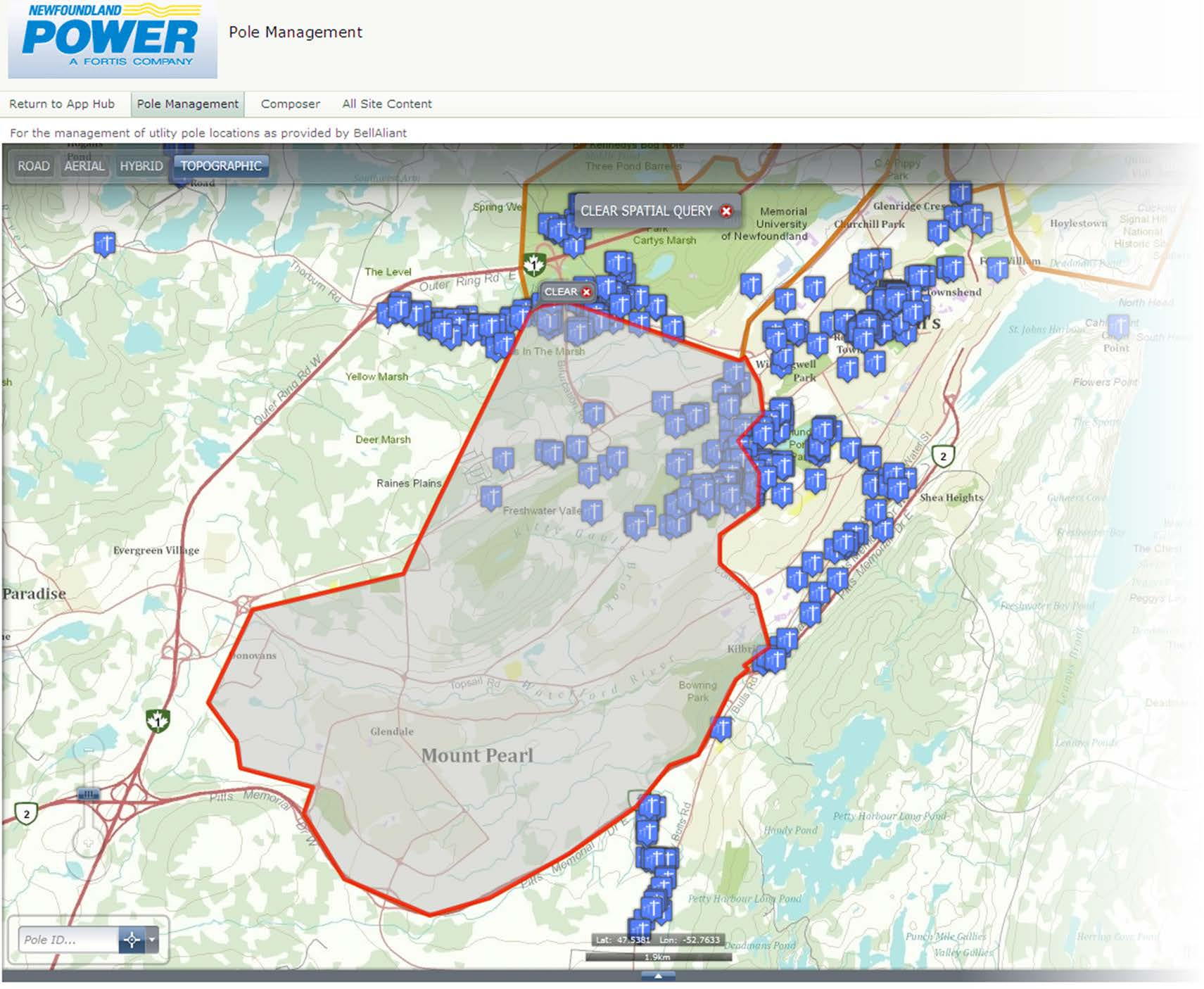 With a single click, users can perform a spatial query on any pole management area